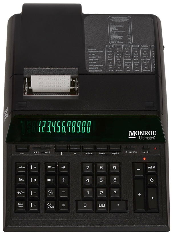 Monroe UltimateX showing the paper roll is protected within the calculator's body